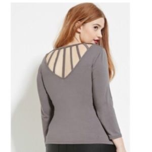 Forever 21 Charcoal Gray Caged-Back Top